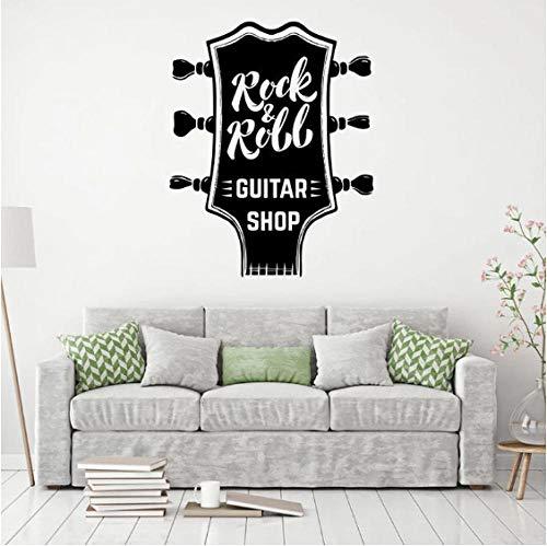 Silhouette Wandaufkleber Rock & Roll Musik Aufkleber Guitar Shop Dekoration Wasserdicht Diy Vinyl Aufkleber Kunstwand Room Wallpaper 57X72Cm