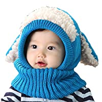 Uworth Baby Hat Scarf Set Boy Winter, Winter Toddler Hat with Ears Warmer Cap for Kids 6-48 Months Blue(Size: One Size)