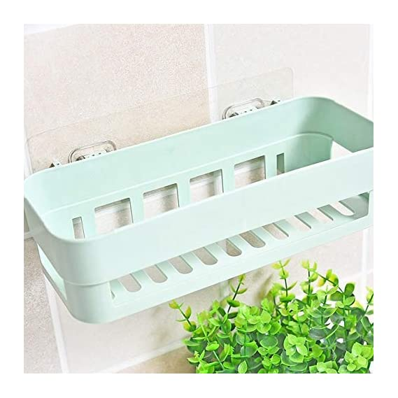 JEEJEX Plastic Inter Design Bathroom Kitchen Organize Shelf Rack Shower Corner Caddy Basket with Sticker No Driling Required (1pc) (Assorted Color)