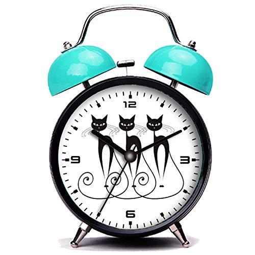 girlsight Blauer Wecker, Nette Katze Skurrile Schwarze Katze Triplet Twin Bell Wecker mit Nachtlicht
