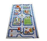 Little Helper 121MD033MA80153 Hypoallergener dicker 3D-Kinderspielteppich - Farbenfrohes Design Stadtverkehr mit dreidimensionalem Fußballplatz, Parkplätzen und Straßen, 80 x 150 cm, blau