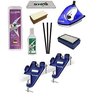 SkinStar Skiwax Set Skiwachs Starter Set Skispanner mit Belagsausbesserung 8- teilig