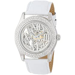 Burgmeister Ravenna Ladies Automatic Skeleton Watch BM140-106 With Swarovski Crystals And White Leather Strap
