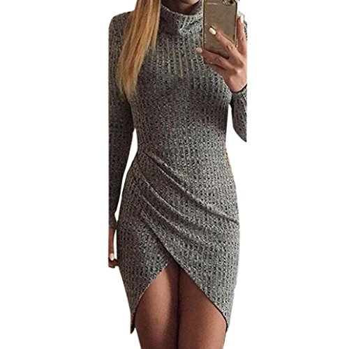 Damen Kleid Yesmile Mode Frauen Solide Lange Ärmel Bodycon Club Partei Split Mini Bleistiftkleid Mantel Rollkragenkleid Voll Ärmel Mini Kleid Frühjahr Herbst Hüfte Paket Kleid Strandparty Kleid Abend Club und Party Kleid Solide Unregelmäßige Rock Dress (XL, Grau) (Kragen Lange Ärmel Gefalteten)