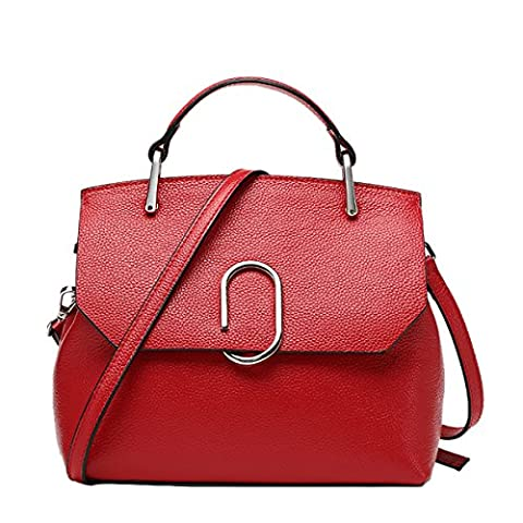 E-Girl Q0804 Women Leather Red Handbag Retro Top-Handle Bags Casual Fashion Shoulder Bag,10.2x4.9x8.9 L x W x H (inch)