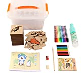 LanLan Kit di Stencil e Disegno per Bambini,Gioco Educativo Per Bambini dai 4-10 Anni 50p