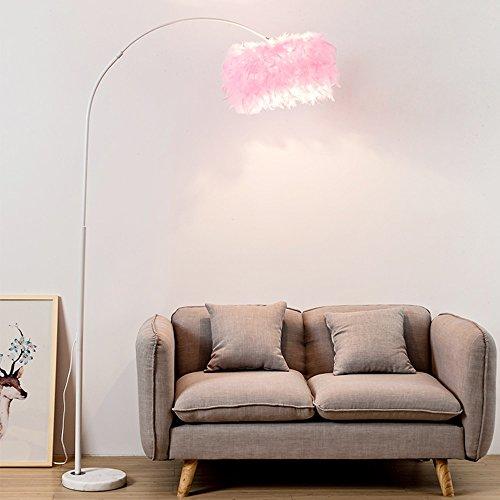 Feather Stehlampe Wohnzimmer warme Mode Schlafzimmer Studie Nachttischlampe moderne minimalistische Angellampe Hauptdekoration (Farbe : Rosa) - Auf Eine Feder Stehlampe