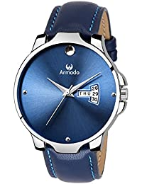 Armado Analogue Blue Dial Day And Date Watch For Men - Ar-049-Blu
