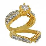 ISADY - Skyler Gold - Damen Ring - 18 Karat (750) Gelbgold platiert - Zirkonium transparent - T 58 (18.5)
