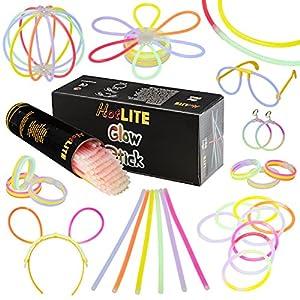 Paquete de Fiesta con 100 Barras Brillantes, Pulseras HotLite de 8 Pulgadas, Collares, Kits para Crear Gafas, Pulseras triples, Diadema, Pendientes, Flores, una Bola Brillante y Mucho más. de HotLite