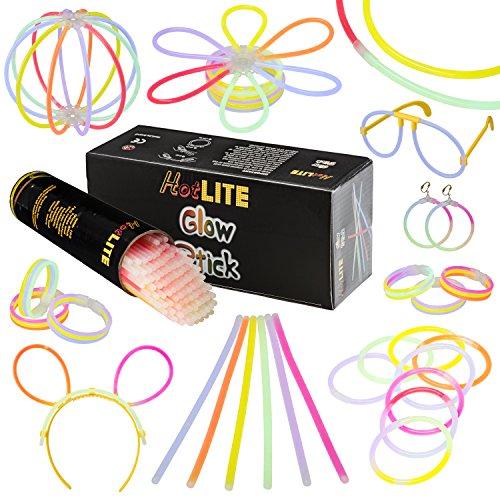 comprare on line Hotlite - Pacco di 100 Barre Luminose per Party - 8 braccialetti extra, collane, kit per creare occhiali, braccialetti tripli, una fascia, orecchini, fiori, una palla luminosa e altro! prezzo