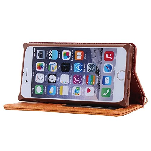Wkae Case & Cover Pour Horizontal Flip en cuir magnétique iPhone 6 Plus &6s plus Denim Texture avec support &Card Slots &Wallet &Longe ( Color : Red ) Coffee