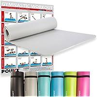 POWRX – Esterilla fitness ANTIDESLIZANTE con tirante – Ideal para ejercicios de Yoga, Pilates, Estiramientos y Abdominales - 183 x 60 x 1 cm + PDF workout - Color Gris