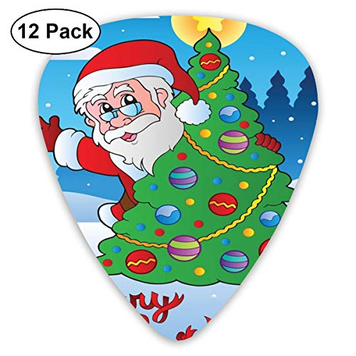 Guitar Picks - Abstract Art Colorful Designs,Santa Claus Waving Hello Behind A Colorful Festive Xmas Pine Tree In Snowy Forest,Unique Guitar Gift,For Bass Electric & Acoustic Guitars-12 Pack -