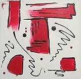 Abstraktes Acrylbild schwarz-weiß-rot 50x50 cm