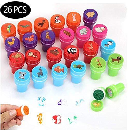 Aiskki Stempel Kinder Set 26 Stück, Selbstfärbend Niedliche Spielzeug Stempelset für Spiel, Spaß, Hobby
