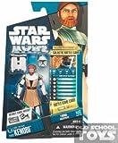Star Wars - 98352 - The Clone Wars - Galactic Battle Game - Action Figur - CW02 - Obi-Wan Kenobi (ca. 10 cm / 3 3/4') - inkl. Jetpack, 1 Duellkarte, Kampfbase und 1 Ergebniswürfel
