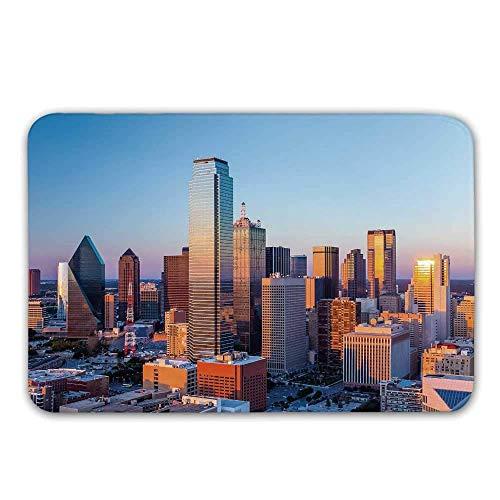 LIS HOME rutschfeste Fußmatte Vereinigter Staaten, Dallas Texas City mit blauem Himmel bei Sonnenuntergang Metropolitan Finance Urban Center-Fußmatte für Haustür-Innenbadmatte