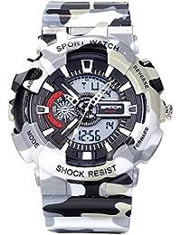 a0118634f631 Jóvenes Adultos niños niñas UV400 Deporte Militar 50 M Impermeable Relojes  Golpes Resistir para Senderismo Gris