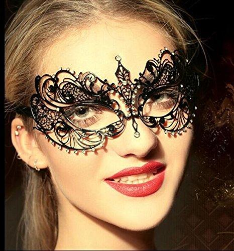 Venezianischen Metall Party Karneval Fasching Prinzessin Metall Strass Maske Schwarz