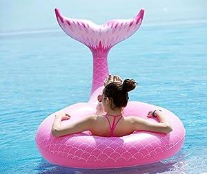 Jasonwell Aufblasbarer Meerjungfrau Schwanz Luftmatratze Riesiger Aufblasbar Schwimmring Pool Floß Schwimmtier Schwimmreifen Schwimminsel Luftmatratze Tiere Wasser Strand Party Spielzeug wasserspielzeug