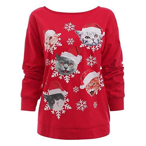 Produktbild Cooljun Damen Pullover Bluse Tops Frauen Weihnachten Katze Schneeflocke Drucken Langarm Sweatshirt Cute Hemd Mantel Weihnachtspullover Rentier Fashion Pulli warme Elegante T-Shirt
