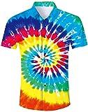 Loveternal Camice Hawaiane Uomo Stampato Tie Dye Button Down Shirt Camicie Uomo Estive Manica Corta 3D Camicia Fiori Uomo XL
