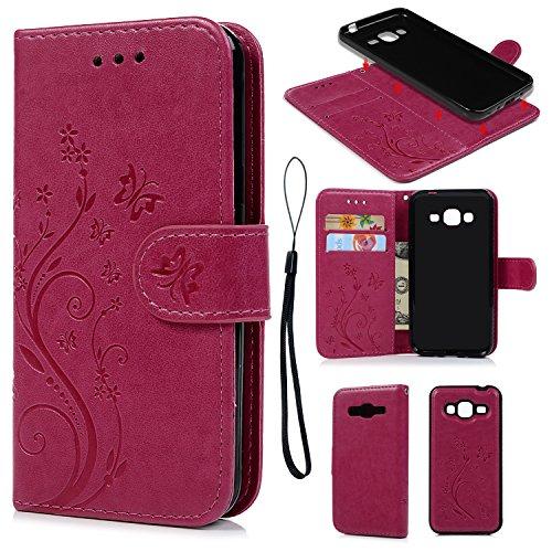 Funda Libro para Samsung Galaxy J3 2016, Carcasa de Cuero Suave Leather Impresión de Mariposa y Flor, TPU Case Interna (2 en 1, Desmontable), Cierre Magnético, Función de Soporte, Funda Billetera con Tapa para Samsung Galaxy J3 2016 - Rosa Rojo