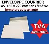 Confezione di 500buste per la posta A5/C5,carta velina bianca, 90g, formato 162x 229mm, chiusura con nastro autoadesivo siliconata