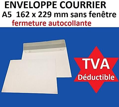 lot de 500 enveloppe courrier A5 - C5 papier velin blanc 90g format 162 x 229 mm une enveloppe blanche avec fermeture bande adhésive autocollante siliconnée