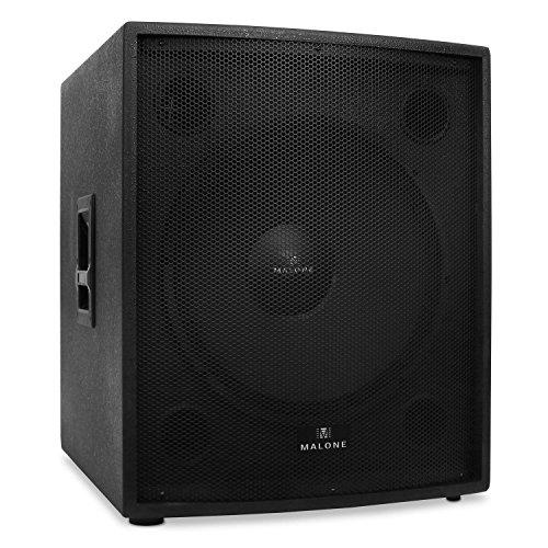 """Malone PW-18P-M - passiver PA-Subwoofer, PA Box, 2500 Watt max. Leistung, 46 cm (18"""")-Tieftöner, Frequenzgang: 35 Hz bis 35 kHz, zum Stativ-Aufbau geeignet, Bassreflex-Bauweise, schwarz"""