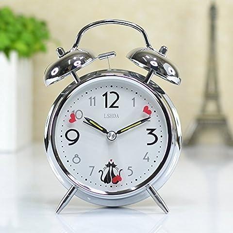 MSRRY Mute anello di allarme allarme orologio al quarzo Orologio elettronico allarmi, orologio elettronico orologio al quarzo desk Jong-anelli doppia sveglia - Quarzo Contemporaneo Anello