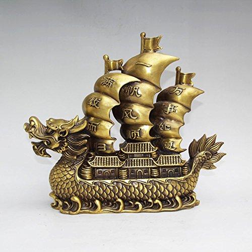YUNHAO Chinese Palace Feng Shui Messing Dragon Boot Velamen radicum Wellen Statue Skulptur Home Dekoration