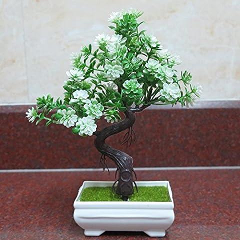 Dekorative Künstliche Bäume mit blühenden Bonsai Feng Shui Baum (sehr viel Farbe) Home Decor Begrüßen Kiefer Fake Blume Ornamente Möbel Simulation Blumen 24cm , 3