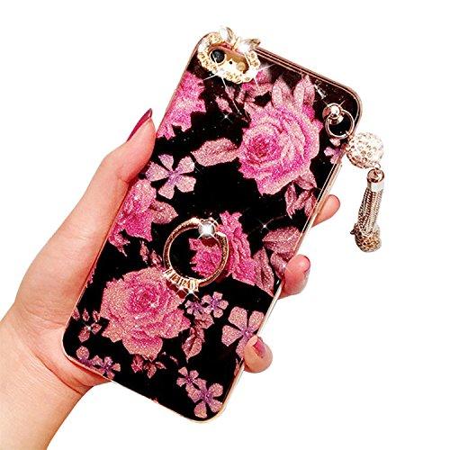 Handyhülle für iPhone 5, für iPhone SE Case Cover, Vandot 360 Grad Rotation Ring Luxury Crystal Box elegant Pattern Pink Back Cover Ultra Thin Soft Gel TPU Silikon Bumper Fall mit Unterstützung von Ri Flower-3