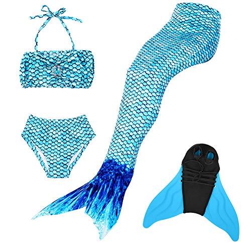 GNFUN Meerjungfrauenschwanz zum Schwimmen mit Meerjungfrau Flosse 100-170cm Höhe,Schwimmen Kostüm Kinder, - Meerjungfrau Kostüm Kid