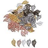 SUPVOX Ciondoli in lega di piccole foglie di fascini gioielli fai da te che fanno accessorio per collana braccialetto 75 pezzi (colore misto)