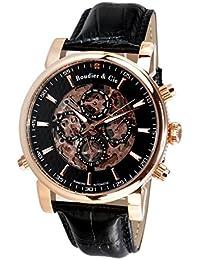 Boudier & Cie SK14H058 - Reloj Esqueleto Automatico Analogico para hombre, Esfera negra, Carcasa dorada de Acero inoxidable, Correa de Cuero negro