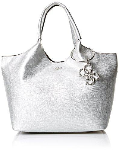 Guess - Flora, Shoppers y bolsos de hombro Mujer, Plateado (Silver/Sil), 47x25x17.5...