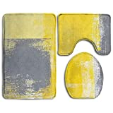 cleaer Grey and Yellow Abstract Art Painting Bathroom Rug 3 Piece Bath Mat Set Contour Rug and Lid Cover
