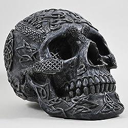 Figura Decorativa, diseño de Calavera Celta, 13 cm, Color Negro