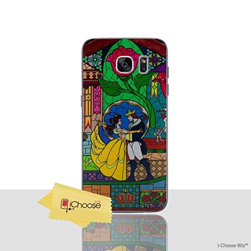 Die Schöne und Das Biest Rose Telefon Hülle/Case für Samsung Galaxy S7 (G930) mit Displayschutzfolie / Silikon Weiches Gel/TPU / iCHOOSE / Glasmalerei - Tanz