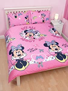 parure housse de couette linge de lit double minnie disney 200 x 200 2 personnes. Black Bedroom Furniture Sets. Home Design Ideas