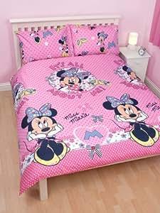 parure housse de couette linge de lit double minnie disney. Black Bedroom Furniture Sets. Home Design Ideas