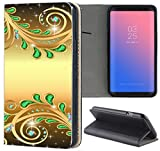 Huawei P8 Lite 2015 Hülle Premium Smart Einseitig Flipcover Hülle P8 Lite 2015 Flip Case Handyhülle Huawei P8 Lite 2015 Motiv (1374 Abstract Smaragd Grün Gold Farben)