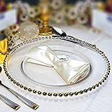 Glas-Teller mit Perlen-Gold-Rand, Weihnachts-/Hochzeits-Deko, 33cm Durchmesser