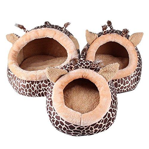 MAGIC UNION Hundehöhle Hundehöhle Tierbett Hundebett Hundesofa Korbmit Schlafplätze Kissen für Pet Hund Katze Haustier in Tiere Braun Giraffe und 3 Größen(S/M/L) wählbar - 6
