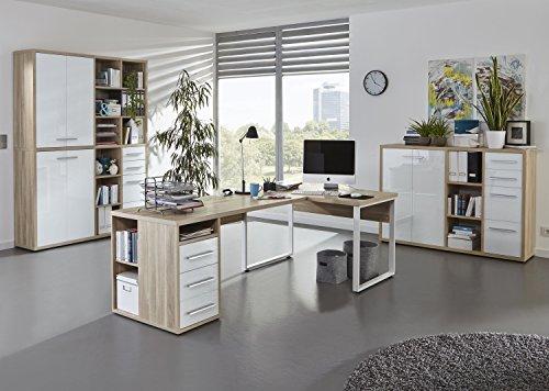 Komplettes Arbeitszimmer - Büromöbel Komplett Set Plus Modell 2017 MAJA SET+ in Eiche Natur / Weißglas (SET 4)