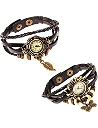 Fantastic set of 2 Stylish Womens Leather Wrap Watches by Boolavard