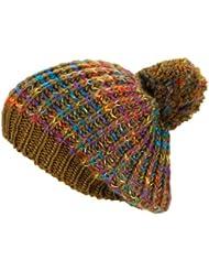 Bonnet chaud et à la mode avec un grand pompon 2013/2014 - chapeau tricoté de laine chapeau d'hiver 260 (brun moyen)